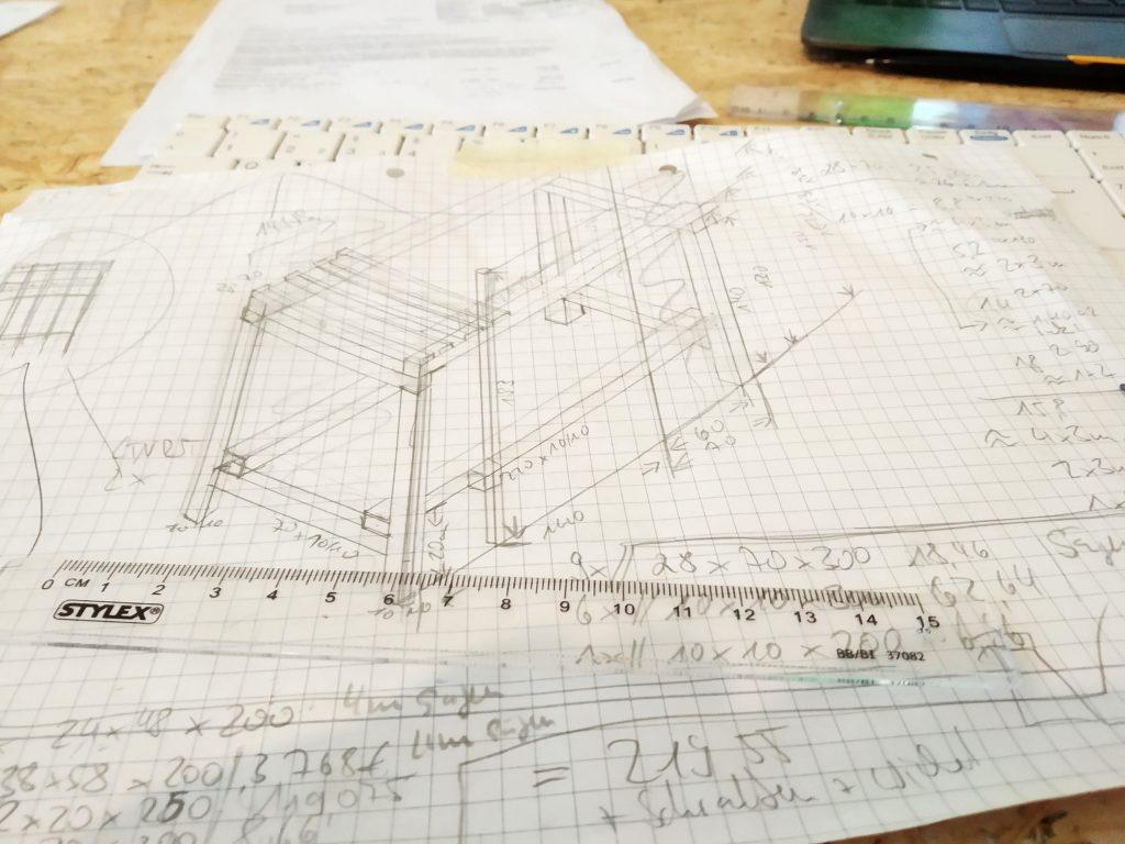 Konstruktionszeichnung Etagenbett